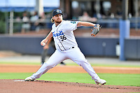 Asheville Tourists starting pitcher R.J. Freure (36) delivers a pitch during a game against the Aberdeen IronBirds on June 18, 2021 at McCormick Field in Asheville, NC. (Tony Farlow/Four Seam Images)