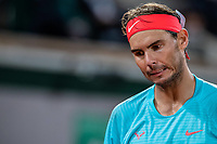 2nd October 2020, Roland Garros, Paris, France; French Open tennis, Roland Garros 2020;  Rafael Nadal of Spain reacts during the mens singles third round match against Stefano Travaglia of Italy