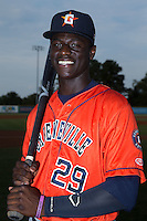 Greeneville Astros outfielder Daz Cameron (29) poses for a photo prior to the game against the Burlington Royals at Burlington Athletic Park on August 29, 2015 in Burlington, North Carolina.  The Royals defeated the Astros 3-1. (Brian Westerholt/Four Seam Images)