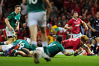 Rhys Patchell of Wales scores his sides second try during the under armour summer series 2019 match between Wales and Ireland at the Principality Stadium, Cardiff, Wales, UK. Saturday 31st August 2019