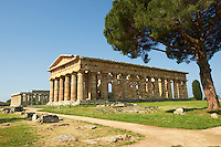 The ancient Doric Greek Temple of Hera of Paestum  built in about 460–450 BC. Paestum archaeological site, Italy.