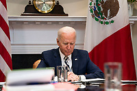 United States participates in a virtual bilateral meeting with President Andrés Manuel López Obrador of Mexico in the Roosevelt Room of the White House in Washington on March 1st, 2021. <br /> Credit: Anna Moneymaker / Pool via CNP /MediaPunch
