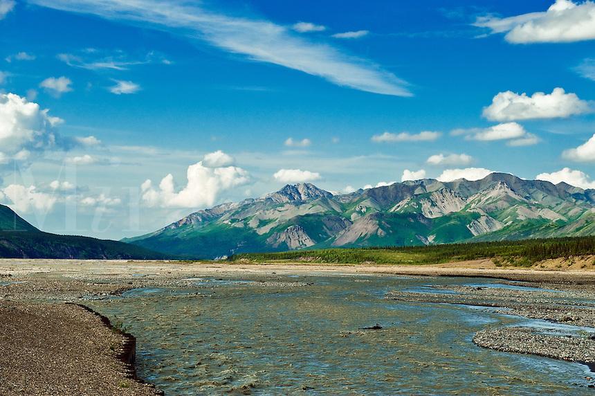 Mountain landscape and braided river, Denali National Park, Alaska