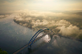 Bridge seen through Morning fog over Tennessee River.