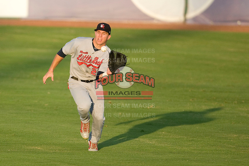 Arkansas Travelers outfielder Mike Trout #23 catches a fly ball during the Texas League All Star Game played on June 29, 2011 at Nelson Wolff Stadium in San Antonio, Texas. The South defeated the North 3-2 in the contest. (Andrew Woolley / Four Seam Images)