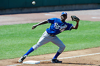 Anfernee Grier #48 of Russell County High School in Seale, Alabama playing for the Kansas City Royals scout team during the East Coast Pro Showcase at Alliance Bank Stadium on August 2, 2012 in Syracuse, New York.  (Mike Janes/Four Seam Images)