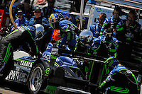 4-5 April 2008, St Petersburg, Florida, USA.David Brabham drops into the seat of the Highcroft Acura ARX-01B during a pit stop..©2008 F.Peirce Williams, USA .