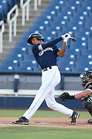 Jake Gatewood #18 of the AZL Brewers bats against the AZL White Sox at the Maryvale Baseball Complex on July 11, 2014 in Phoenix, Arizona. AZL Brewers defeated the AZL White Sox, 6-4. (Larry Goren/Four Seam Images)