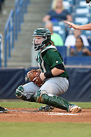 Daytona Tortugas catcher Chad Wallach (15) checks the runner during a game against the Tampa Yankees on April 24, 2015 at George M. Steinbrenner Field in Tampa, Florida.  Tampa defeated Daytona 12-7.  (Mike Janes/Four Seam Images)