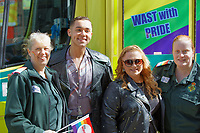 Pictured: Singer Shaheen Jafargholi (2nd L) with NHS staff. Saturday 04 May 2019<br /> Re: Swansea Pride Parade in south Wales, UK.