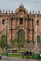 Peru, Cusco.  The Cathedral, 16th. century, from the Plaza de Armas.