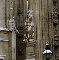 A heraldic lion on the Victoria Tower, renewed in the 20th century as part of a programme to replace the decayed stonework of the Palace