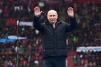 Moscow, Russia, 23/02/2012..Russian Prime Minister Vladimir Putin waves to a crowd of some 130,000 people at a presidential election campaign rally in Luzhniki sports stadium.