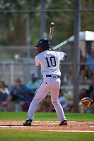 FIU Panthers center fielder Jarrett Ford (10) bats during a game against the South Dakota State Jackrabbits on February 23, 2019 at North Charlotte Regional Park in Port Charlotte, Florida.  South Dakota defeated FIU 4-3.  (Mike Janes/Four Seam Images)
