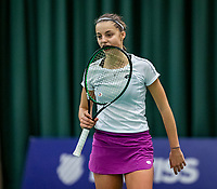 Wateringen, The Netherlands, December 1,  2019, De Rhijenhof , NOJK 12 and16 years, Final girls 16 years: Florentine Dekkers (NED) bites her racket<br /> Photo: www.tennisimages.com/Henk Koster