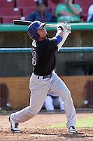 Nino Leyja #19 of the Stockton Ports bats against the High Desert Mavericks at Stater Bros. Stadium on May 27, 2012 in Adelanto,California. High Desert defeated Stockton 6-5.(Larry Goren/Four Seam Images)