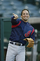 Omar Vizquel of the Cleveland Indians during a 2003 season MLB game at Angel Stadium in Anaheim, California. (Larry Goren/Four Seam Images)