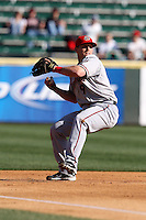 April 10, 2010:  Adam Fox of the Harrisburg Senators during a game at Blair County Ballpark in Altoona, PA.  Harrisburg is the Double-A Eastern League affiliate of the Washington Nationals.  Photo By Mike Janes/Four Seam Images