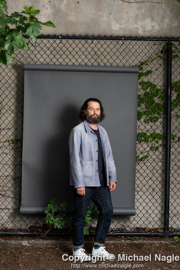 """NEW YORK, NY — 5/28/21:  Actor Matthew Rhys poses for a portrait on Friday, May 28, 2021 in Adam Yauch Park in the Brooklyn borough of New York City.  Rhys stars in HBO's """"Perry Mason"""" series.  (PHOTOGRAPH BY MICHAEL NAGLE)"""
