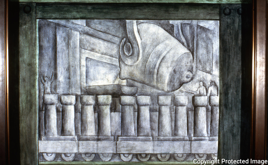 Detroit:   Detroit Industry, North Wall 1932-33. Diego M. Rivera 1866-1957. Open Hearth Operation.   Reference only.