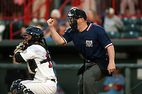 May 29th 2008: Home plate umpire Jason Arends during a game at Jerry Uht Park in Erie, PA.  Photo by:  Mike Janes/Four Seam Images