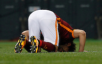 Calcio, Serie A: Roma vs Fiorentina. Roma, stadio Olimpico, 4 marzo 2016.<br /> Roma's Mohamed Salah celebrates after scoring his second goal during the Italian Serie A football match between Roma and Fiorentina at Rome's Olympic stadium, 4 March 2016.<br /> UPDATE IMAGES PRESS/Riccardo De Luca