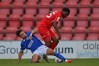 Peter Gwargis of Brighton & Hove Albion (U23s) and Shadrach OgieS of Leyton Orient battle for the ball during the EFL Trophy behind closed doors match between Leyton Orient and Brighton & Hove Albion Under 21s at the Matchroom Stadium, London, England played without supporters able to attend due to ongoing covid-19 government guidelines on 8 September 2020. Photo by Vince  Mignott.