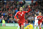 UEFA European Championship at Cardiff City Stadium - Wales v Cyprus : <br /> Hal Robson-Kanu celebrates his goal - the second for Wales.