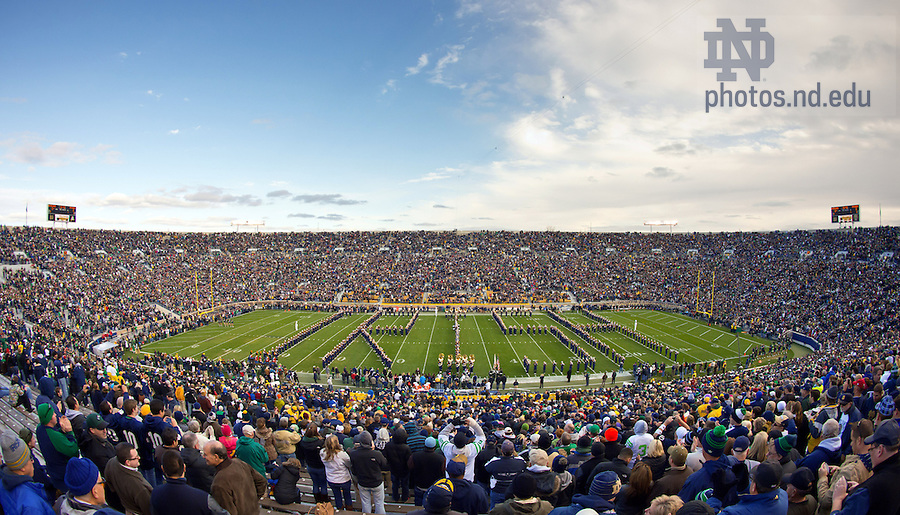 """Nov. 3, 2012; The Notre Dame Marching Band spells out """"Irish"""" during their pregame performance at Notre Dame Stadium before the Pitt game, 2012...Photo by Matt Cashore/University of Notre Dame"""