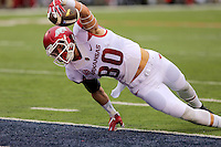 11/7/15<br /> Arkansas Democrat-Gazette/STEPHEN B. THORNTON<br /> Arkansas' Drew Morgan leans over the goal line for Arkansas' first touchdown against Ole Miss' during the first quarter of Saturday's game in Oxford, Miss.