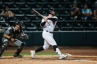 Evan Skoug (9) of the Winston-Salem Dash at bat against the Greensboro Grasshoppers at Truist Stadium on June 15, 2021 in Winston-Salem, North Carolina. (Brian Westerholt/Four Seam Images)