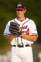 Third baseman Jon Gilmore (19) of the Danville Braves at Dan Daniels Park in Danville, VA, Saturday, August 23, 2008. (Photo by Brian Westerholt / Four Seam Images)