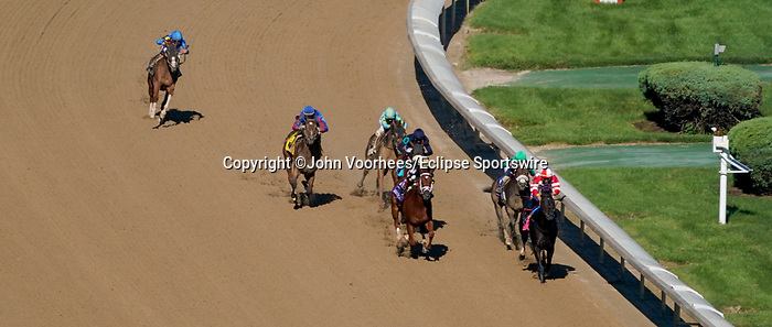 September 5, 2020: Bells' the One, #4, ridden by Corey J. Lanerie, wins the Derby City Distaff on Kentucky Derby Day. The races are being run without fans due to the coronavirus pandemic that has gripped the world and nation for much of the year, with only essential personnel, media and ownership connections allowed to attend at Churchill Downs in Louisville, Kentucky. John Voorhees/Eclipse Sportswire/CSM