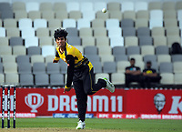 Firebirds bowler Rachin Ravindra during the men's Dream11 Super Smash cricket match between the Wellington Firebirds and Northern Knights at Basin Reserve in Wellington, New Zealand on Saturday, 9 January 2021. Photo: Dave Lintott / lintottphoto.co.nz