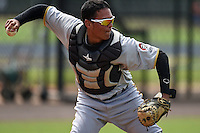 GCL Pirates catcher Carlos Marquez (16) during practice before a game against the GCL Phillies on June 26, 2014 at the Carpenter Complex in Clearwater, Florida.  GCL Phillies defeated the GCL Pirates 6-2.  (Mike Janes/Four Seam Images)