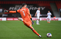 31st October 2020; Vitality Stadium, Bournemouth, Dorset, England; English Football League Championship Football, Bournemouth Athletic versus Derby County; David Marshall of Derby County takes a free kick