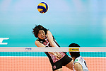 Wing spiker Mami Uchiseto of Japan pass during the FIVB Volleyball World Grand Prix match between China vs Japan on July 21, 2017 in Hong Kong, China. Photo by Marcio Rodrigo Machado / Power Sport Images