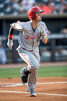 Louisville Bats outfielder Jesse Winker (23) runs to first base against the Toledo Mud Hens during the International League baseball game on May 17, 2017 at Fifth Third Field in Toledo, Ohio. Toledo defeated Louisville 16-2. (Andrew Woolley/Four Seam Images)
