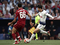Tottenham's Heung-Min Son (r) in action with Liverpool's Trent Alexander-Arnold (l) during the UEFA Champions League final football match between Tottenham Hotspur and Liverpool at Madrid's Wanda Metropolitano Stadium, Spain, June 1, 2019. Liverpool won 2-0.<br /> UPDATE IMAGES PRESS/Isabella Bonotto
