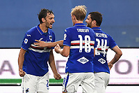 Manolo Gabbiadini of Sampdoria celebrates with team mates after scoring the goal of 1-1 during the Serie A football match between UC Sampdoria and Genoa CFC at stadio Marassi in Genova (Italy), July 22th, 2020. Play resumes behind closed doors following the outbreak of the coronavirus disease. <br /> Photo Matteo Gribaudi / Image Sport / Insidefoto