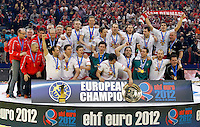 European champions Denmark national handball team players celebrate victory in final men`s EHF EURO 2012 handball championship game against Serbia in Belgrade, Serbia, Sunday, January 29, 2011.  (photo: Pedja Milosavljevic / thepedja@gmail.com / +381641260959)