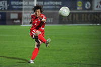 20190301 - LARNACA , CYPRUS : North Korean midfielder Ri Un-yong pictured during a women's soccer game between South Africa and Korea DPR , on Friday 1 March 2019 at the AEK Arena in Larnaca , Cyprus . This is the second game in group A for Both teams during the Cyprus Womens Cup 2019 , a prestigious women soccer tournament as a preparation on the Uefa Women's Euro 2021 qualification duels. PHOTO SPORTPIX.BE   STIJN AUDOOREN