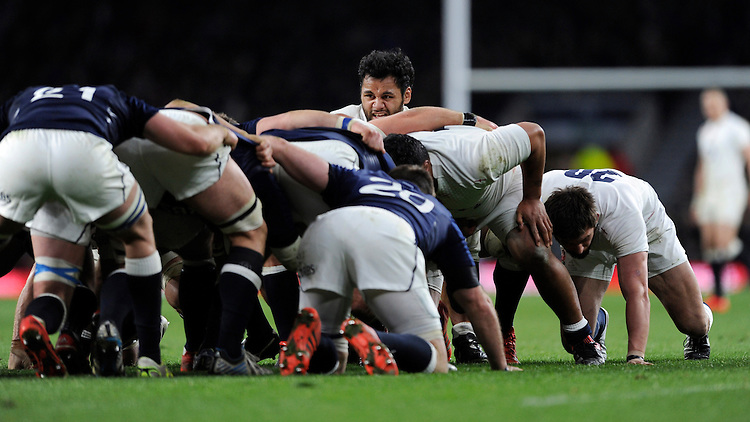 Billy Vunipola of England looks over the top of a scrum