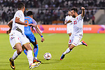 Jamal Rashed Abdulrahman of Bahrain (R) fights for the ball with Pritam Kotal of India (2nd L) during the AFC Asian Cup UAE 2019 Group A match between India (IND) and Bahrain (BHR) at Sharjah Stadium on 14 January 2019 in Sharjah, United Arab Emirates. Photo by Marcio Rodrigo Machado / Power Sport Images