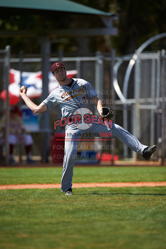 Central Michigan Chippewas Zach Heeke (3) during practice before a game against the Boston College Eagles on March 3, 2017 at North Charlotte Regional Park in Port Charlotte, Florida.  Boston College defeated Central Michigan 5-4.  (Mike Janes/Four Seam Images)