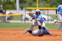 Tampa Bay Rays Jake Palomaki (57) awaits a throw as Justin Dean (13) slides into second base during a Minor League Spring Training game against the Atlanta Braves on April 25, 2021 at Charlotte Sports Park in Port Charlotte, Fla.  (Mike Janes/Four Seam Images)