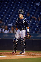 Tampa Tarpons catcher Donny Sands (33) during a Florida State League game against the Daytona Tortugas on May 17, 2019 at George M. Steinbrenner Field in Tampa, Florida.  Daytona defeated Tampa 8-6.  (Mike Janes/Four Seam Images)