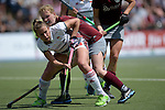 GER - Mannheim, Germany, June 04: During the Final4 semi-final Damen hockey match between Muenchner SC (red) and Rot-Weiss Koeln(white) on June 4, 2016 at Mannheimer HC in Mannheim, Germany. Final score 0-1 (HT 0-0). (Photo by Dirk Markgraf / www.265-images.com) *** Local caption ***