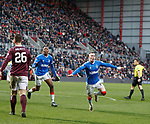 26.01.2020 Hearts v Rangers: Ryan Kent celebrates his goal for Rangers