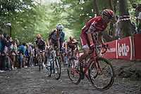 Viacheslav Kuznetsov (RUS/Katusha) up the the iconic Muur van Geraardsbergen (1100m/7.6%)<br /> <br /> 12th Eneco Tour 2016 (UCI World Tour)<br /> Stage 7: Bornem › Geraardsbergen (198km)